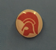 Trojan Head Red and White Background Hankie Pin 10mm